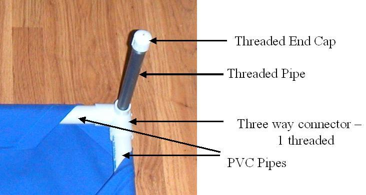 threaded end caps 4 threaded pipes 4 three way connectors 1 long pvc